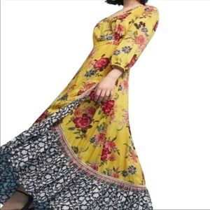 Anthropologie Farm Rio Sunlit Floral Maxi Dress